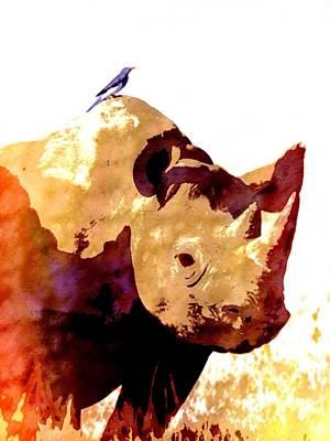 Africa Digital Art - Rhino And Bird by Cindy Edwards