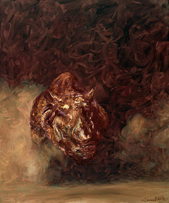 One Horned Painting - Rhino Charger Heaven by Sarah Soward