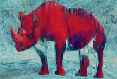 Rhino Digital Art - Rhino by Jack Zulli