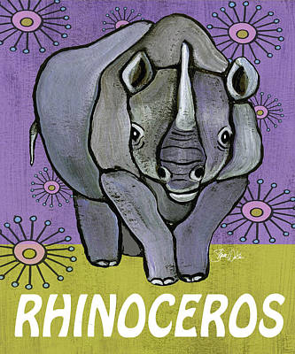 Rhinoceros Painting - Rhino Print by Shanni Welsh