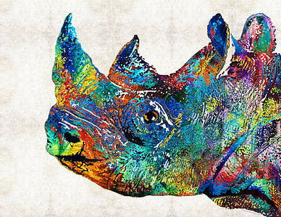 Rhino Rhinoceros Art - Looking Up - By Sharon Cummings Art Print by Sharon Cummings