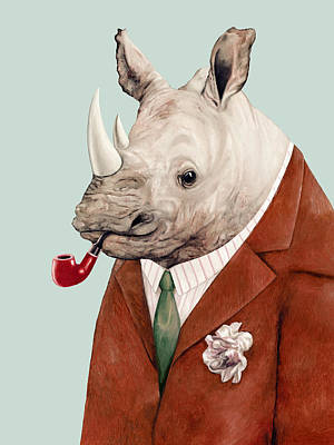 Office Wall Painting - Rhino by Animal Crew
