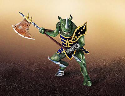 Digital Art - Rhino Warrior by Rick Mosher