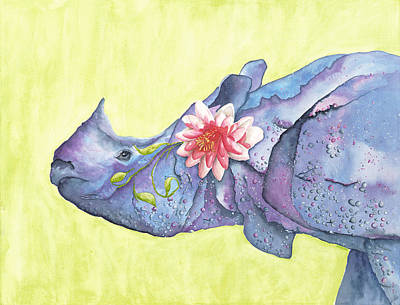 One Horned Painting - Rhino Whimsy by Mary Ann Bobko