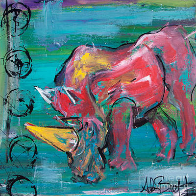 Painting - Rhino - Wisdom by Adam Brett