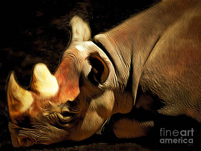 Rhinoceros 20150210brun Art Print by Wingsdomain Art and Photography