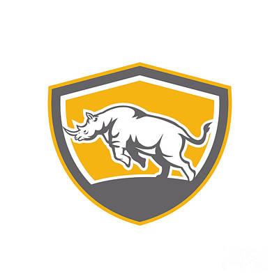 Rhinoceros Charging Side Shield Retro Art Print by Aloysius Patrimonio