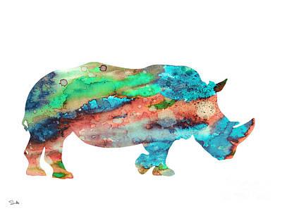 Rhinoceros Painting - Rhinoceros  by Watercolor Girl