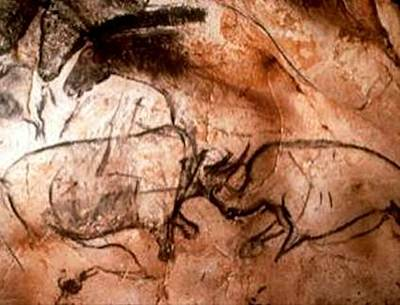 Paleolithic Drawing - Rhinos Fighting With Horses In The Background by L Brown