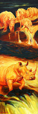 Volcano Goddess Painting - Rhinos For Pele Vulcan by Sarah Soward