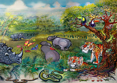 Painting - Rhinos Hippos Tigers And Snakes by Kevin Middleton