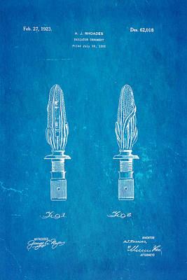 Rhoades Hood Ornament Patent Art 1923 Blueprint Art Print by Ian Monk
