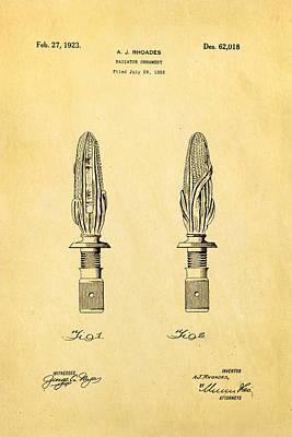 Rhoades Hood Ornament Patent Art 1923 Art Print by Ian Monk