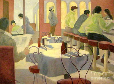 Table Cloth Painting - Rhode Island Cafe by Gretchen Allen
