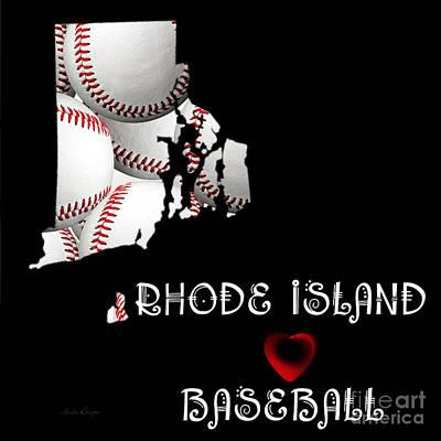 Rhode Island Map Digital Art - Rhode Island Loves Baseball by Andee Design