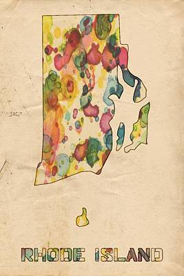 Painting - Rhode Island Map Vintage Watercolor by Florian Rodarte