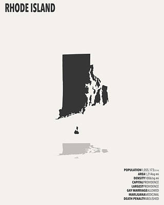 Rhode Island Map Digital Art - Rhode Island Minimalist State Map With Stats by Finlay McNevin