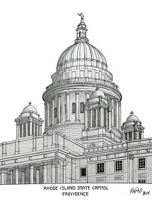 Drawing - Rhode Island State Capitol by Frederic Kohli