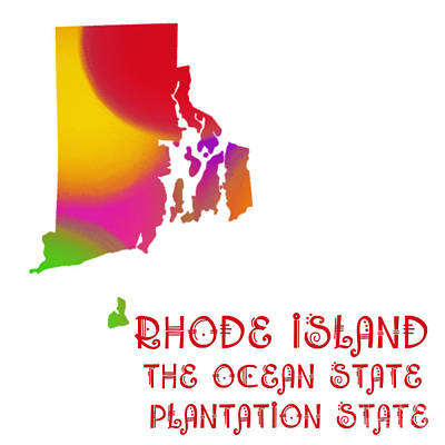Rhode Island State Map Collection 2 Art Print by Andee Design