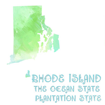 Rhode Island Map Digital Art - Rhode Island - The Ocean State - Plantation State - Map - State Phrase - Geology by Andee Design