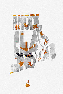 Digital Art - Rhode Island Typographic Map Flag by Ayse Deniz