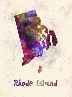 Rhode Island Us State In Watercolor Art Print by Pablo Romero