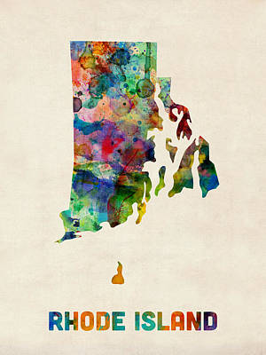 Rhode Island Watercolor Map Art Print by Michael Tompsett