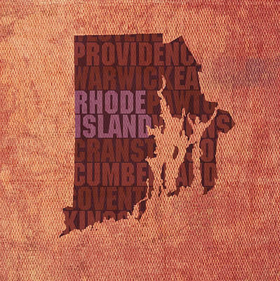 Wall Art - Mixed Media - Rhode Island Word Art State Map On Canvas by Design Turnpike