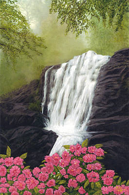 Art Print featuring the painting Rhodedendron Falls by Rick Fitzsimons