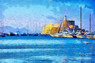 Large Group Of Objects Painting - Rhodes Fort In Sunlight Painting by Magomed Magomedagaev