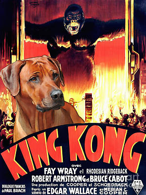 Rhodesian Ridgeback Painting - Rhodesian Ridgeback Art Canvas Print - King Kong Movie Poster by Sandra Sij