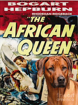 Rhodesian Ridgeback Painting - Rhodesian Ridgeback Art Canvas Print - The African Queen Movie Poster by Sandra Sij