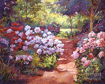 Pathway Painting - Rhododendron Stroll by David Lloyd Glover