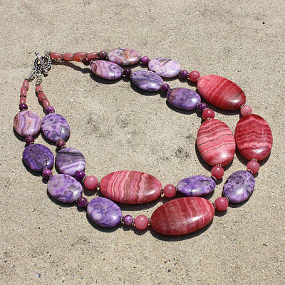 Sterling Silver Jewelry - Rhodonite And Crazy Lace Agate Double Strand Chunky Necklace 3636 by Teresa Mucha