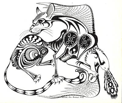 Abstract Shapes Drawing - Rhombus Cat by Melinda Dare Benfield