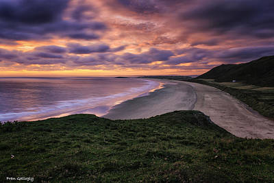 Photograph - Rhossili Bay Sunset by Fran Gallogly