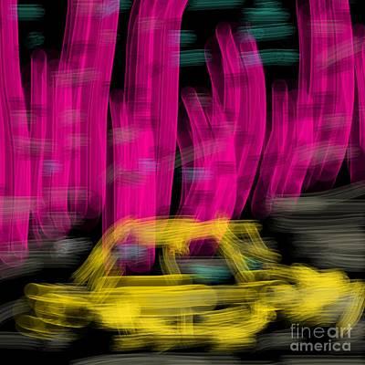 Art By James Eye Digital Art - Rhubarb City Taxi by James Eye