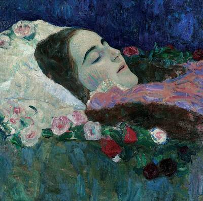 Ria Munk On Her Deathbed Art Print by Gustav Klimt