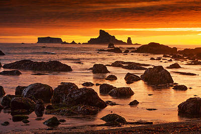 Photograph - Rialto Beach Sunset Symphony by Mark Kiver