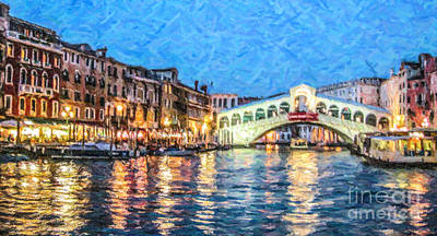 Europe Digital Art - Rialto Blue Hour by Liz Leyden