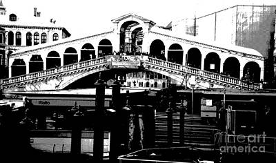 Rialto Bridge - Black And White Art Print by Jacqueline M Lewis