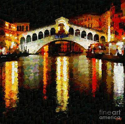Landscape Painting - Rialto Bridge by Dragica  Micki Fortuna