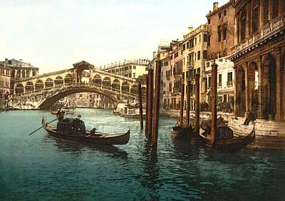 Boats In Water Mixed Media - Rialto Bridge Venice Italy Refurbished by L Brown