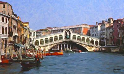 Art Print featuring the digital art Rialto Bridge Venice by Spyder Webb