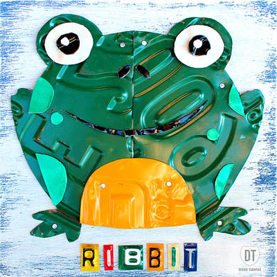Handmade Mixed Media - Ribbit The Frog License Plate Art by Design Turnpike