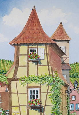 Painting - Ribeauville Village In Alsace  by Mary Ellen Mueller Legault