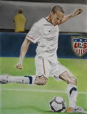 Soccer Drawing - Ricardo Clark Usmnt by Brian Broadway