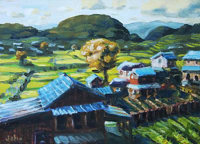 Bamboo Farm Painting - Rice Fields by John Matthew