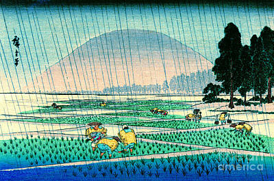 Ando Hiroshige Photograph - Rice Planting In Rain 1900 by Padre Art