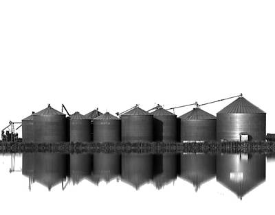 Photograph - Rice Silos Reflected In A Rice Field by Robert Woodward